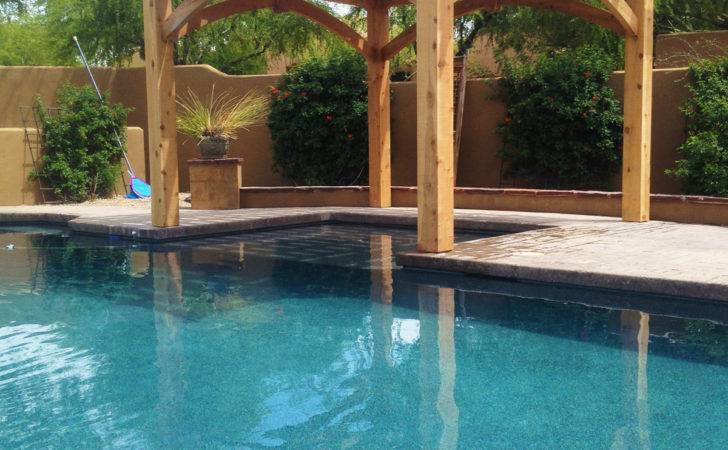 Poolside Pergola Featuring Cantilever Roof Extended Shade