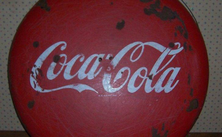 Porcelain Coca Cola Button Sign Metal Advertising Coke Ebay