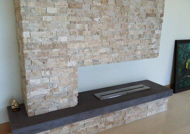 Post Modern Stone Fireplace Room Tampa Urban