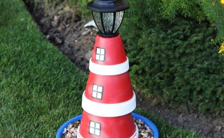 Pot Lighthouse Garden Projects Craft Flower Clay