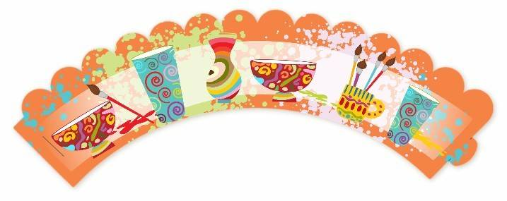 Pottery Painting Birthday Party Cupcake Wrappers Candles Favors
