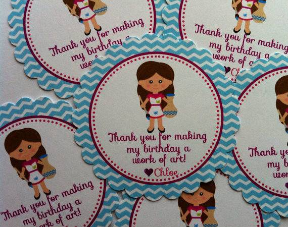 Pottery Painting Girl Party Favor Bags