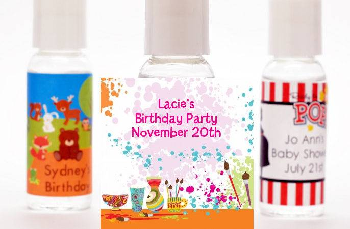 Pottery Painting Personalized Birthday Party Hand Sanitizers Favors