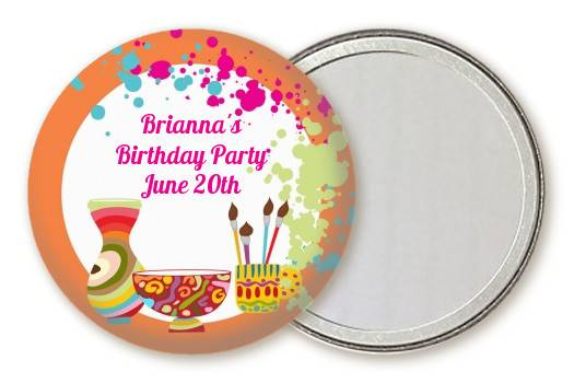 Pottery Painting Personalized Birthday Party Pocket Mirror Favors