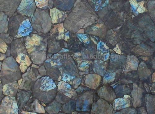 Precious Stone Blue Agate Slice Kitchen Table Tops Gemstone Countertop
