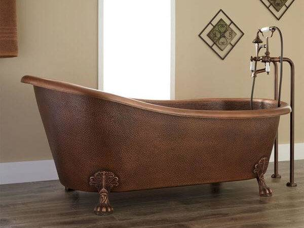 Premier Copper Products Hammered Single Slipper Bathtub Oil