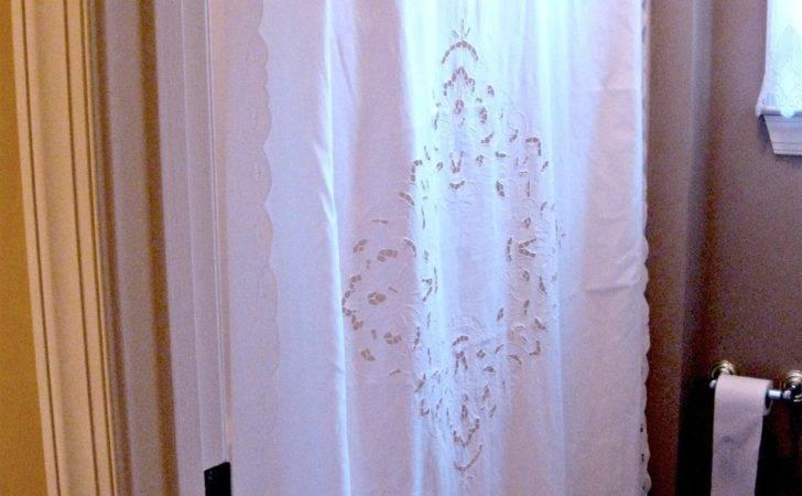 Pretty White Cotton Cutwork Lace Shower Curtain