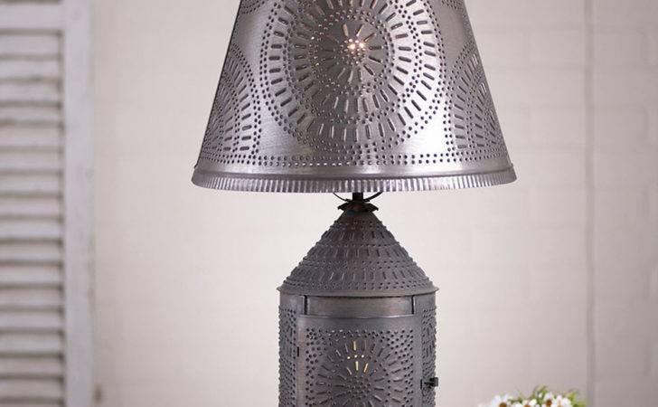 Primitive Blacken Punched Tin Lantern Table Lamp Shade