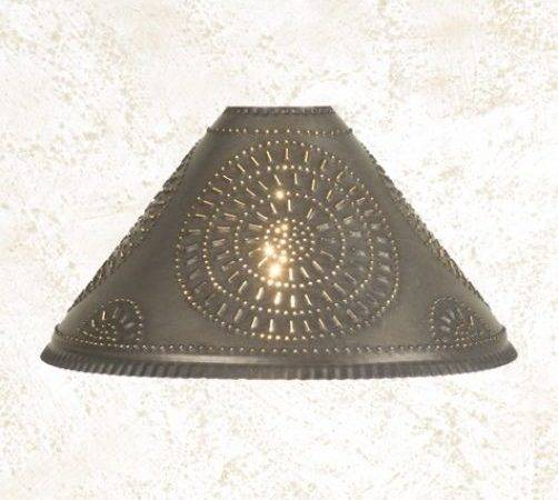 Primitive Blacken Tin Punched Chisel Oil Lamp Shade Nice