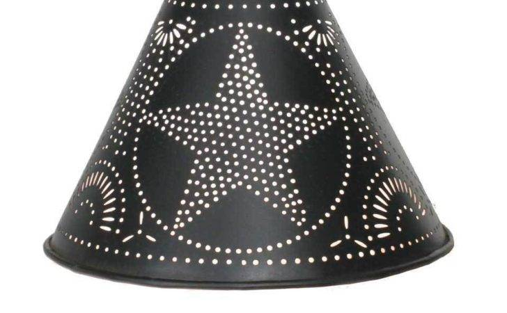 Primitive Country Small Punched Star Tin Lamp Shade Black