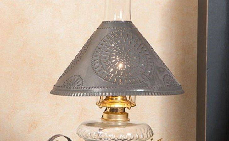 Primitive Glass Oil Lamp Rustic Punched Tin Shade