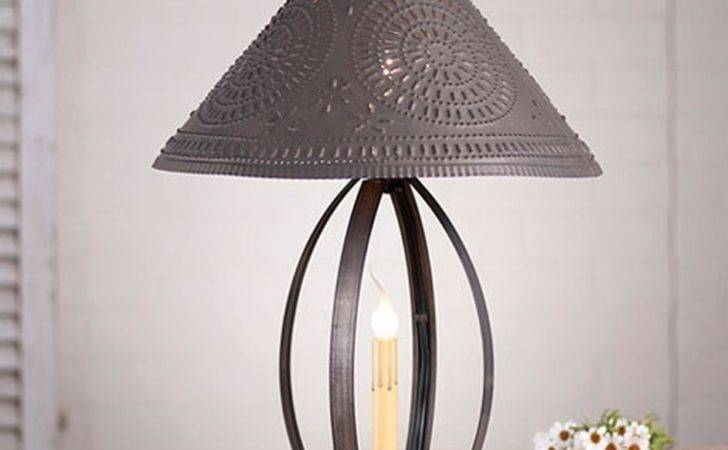 Primitive New Blacken Punched Tin Table Lamp