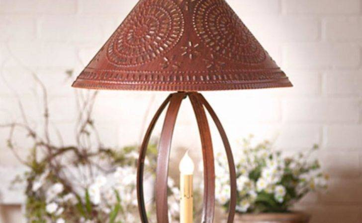 Primitive New Large Rusty Punched Tin Table Lamp