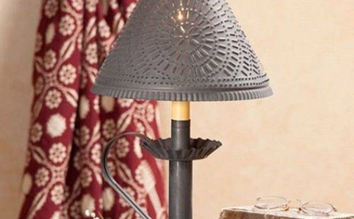 Primitive Punched Tin Candlestick Accent Light