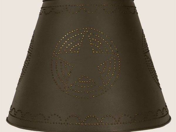 Primitive Rustic Brown Tin Punched Star Lamp Shade Nice