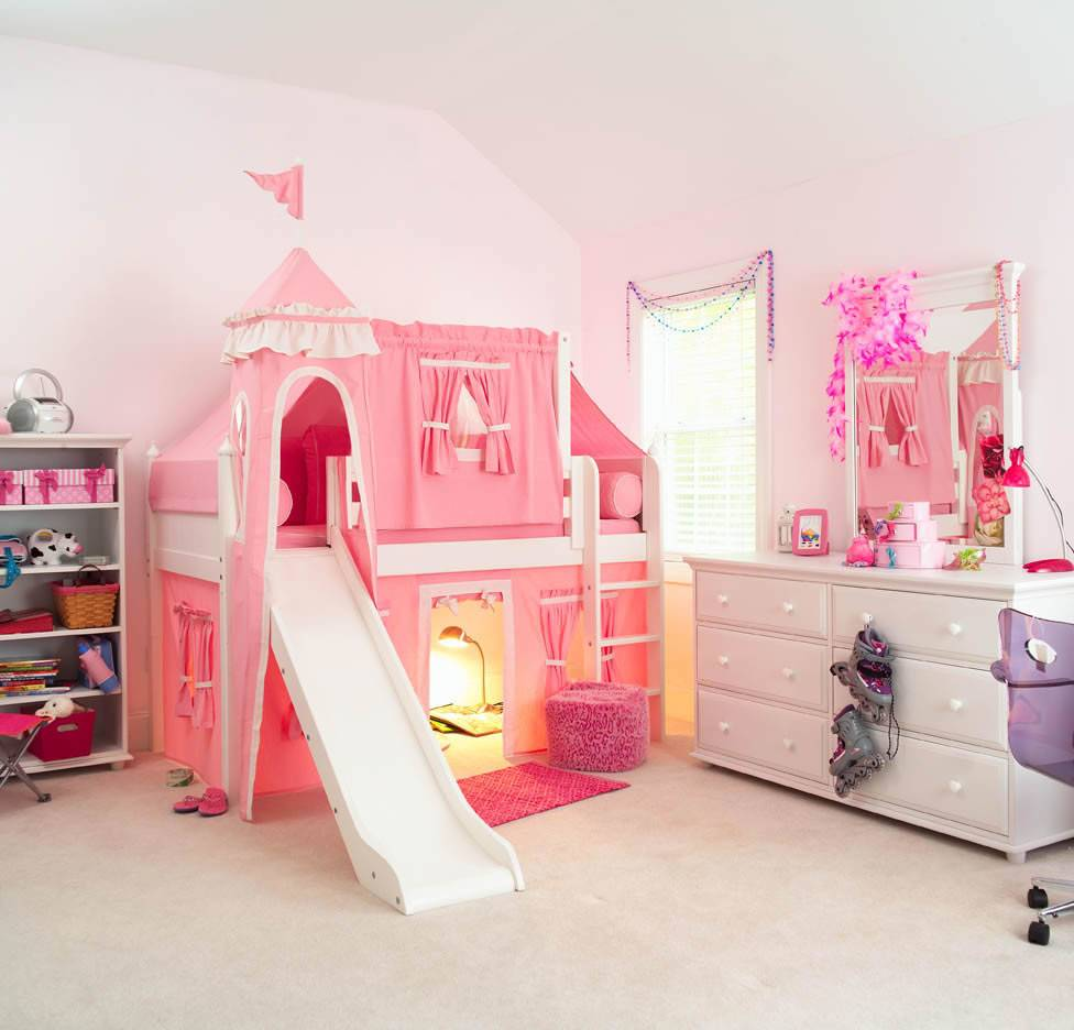 Princess Bedroom Girls Castle Bed Slide Staircase Kids New