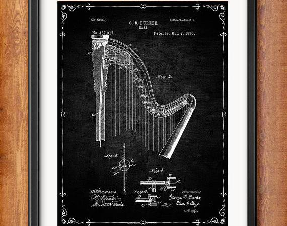 Printable Durkee Harp Patent Decor Decorations Musician Gift Digital