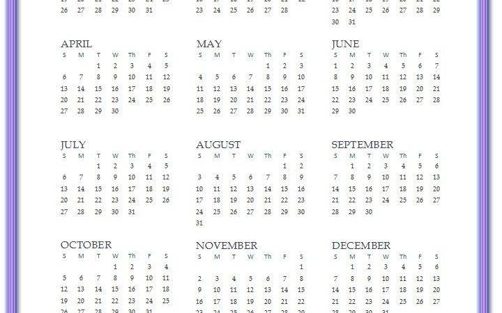 Printable Yearly Calendar Year Lilac