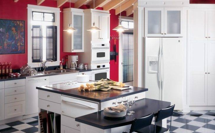 Profile Kitchen Red Walls White Cabinets