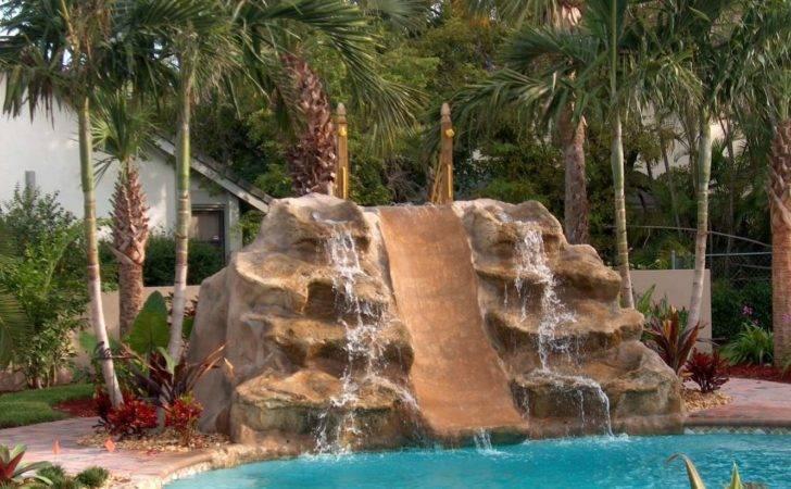 Providing Double Waterfall Slide One Backyard Pool Ideas