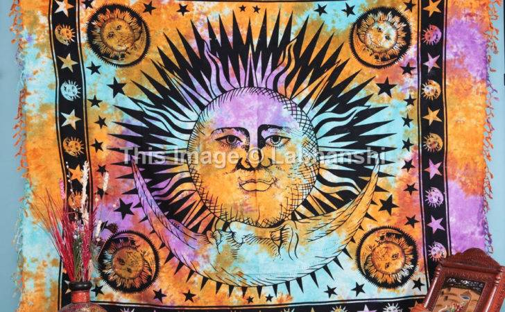 Psychedelic Celestial Sun Moon Tie Dye Tapestry Stars Labhanshi