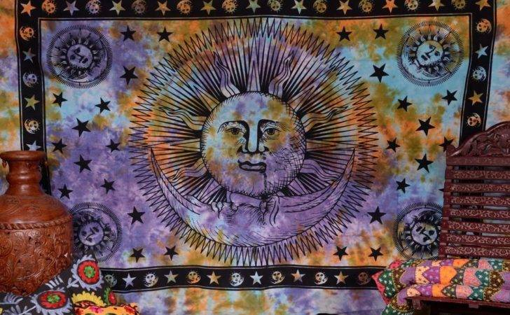 Psychedelic Sun Moon Tapestry Bohemian Wall Tapestries Indian