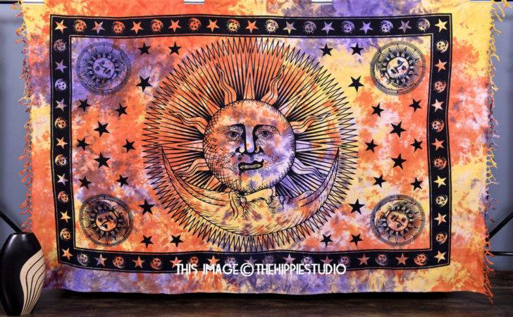Psychedelic Sun Moon Wall Hanging Tapestries Hippie Tapestry