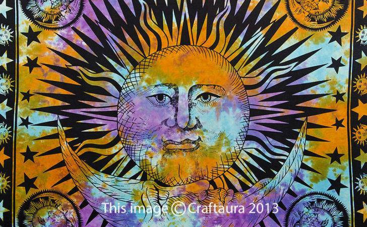 Psychedelic Tapestry Sun Moon Wall Hanging Hippie Tapestries