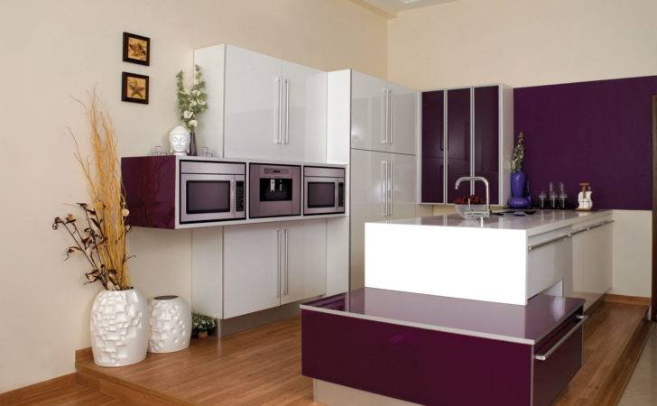 Purple Color Kitchen Gorgeous Modular Cabinets Wall