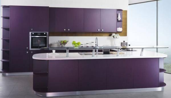 Purple Colour Matt Lacquer Kitchen Cabinet Modern Design