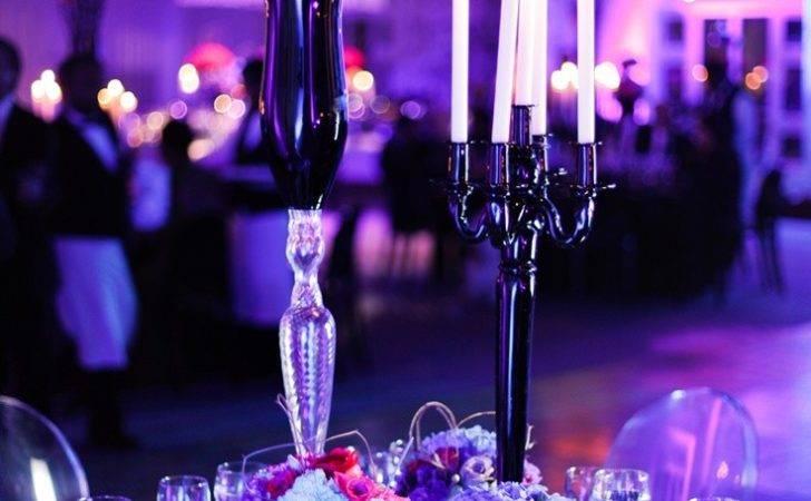 Purple Fuschia Turquoise Wedding Decoration Black Details