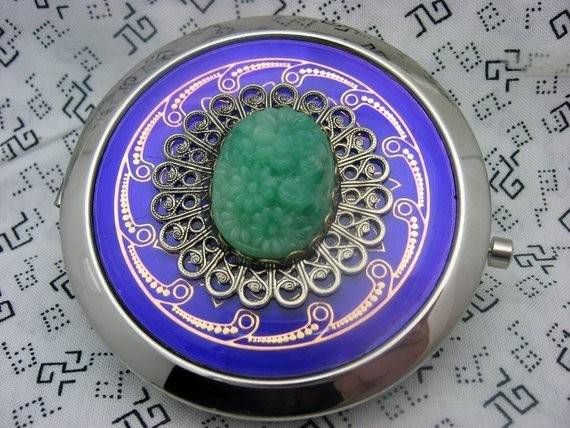 Purple Seafoam Green Deco Comact Mirror Reserved