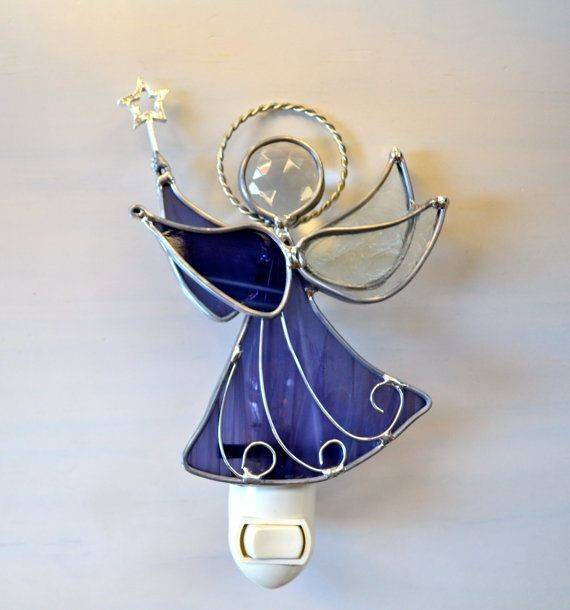 Purple Star Angel Stained Glass Night Light