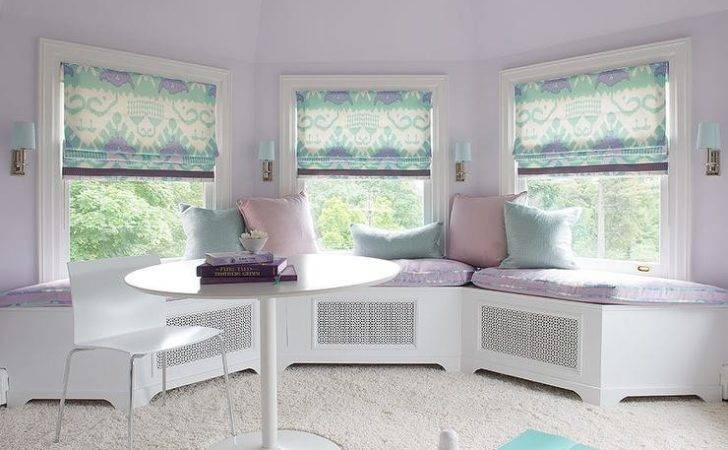 Purple Turquoise Bay Window Seat Contemporary Den