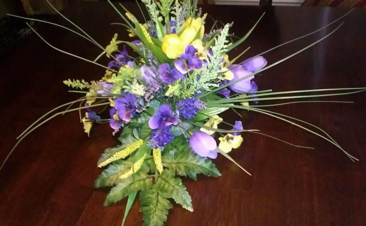 Purple Yellow Floral Arrangement Kbwreaths Etsy
