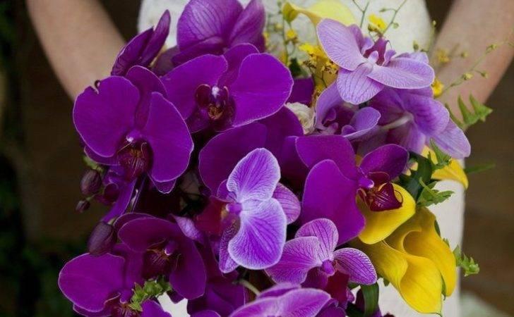Purple Yellow Flower Arrangements Bridal Bouquet