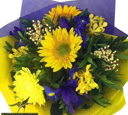 Purple Yellow Flowers Bouquet Deliver Adelaide Today