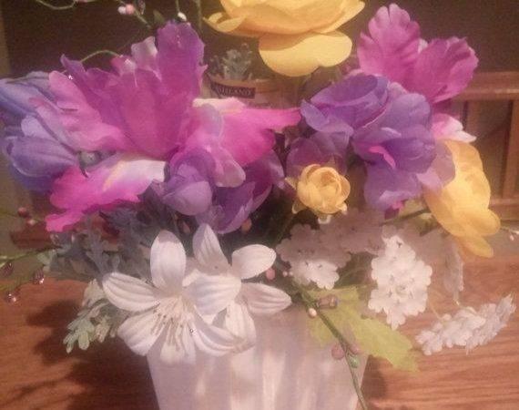 Purple Yellow Mixed Flower Arrangement Nauticocreations