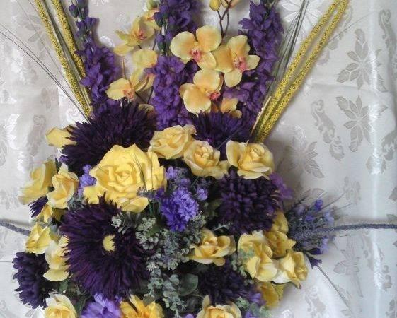 Purple Yellow Silk Altar Arrangement