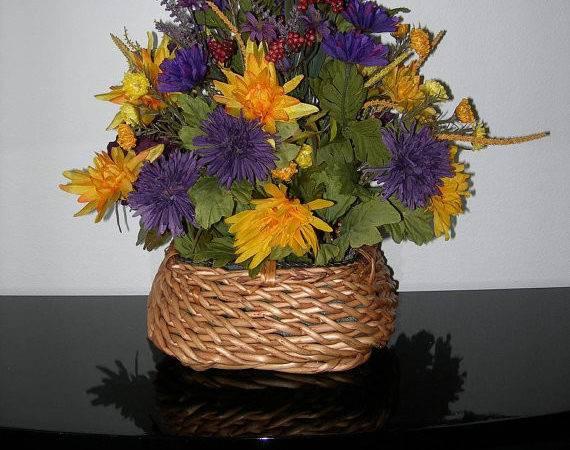 Purple Yellow Silk Floral Arrangement Natural Wicker Basket