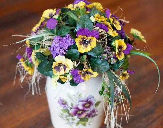 Purple Yellow Spring Floral Arrangement Decorative Pottery Pitcher