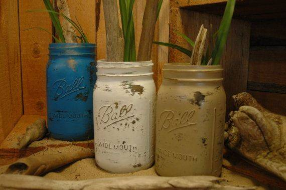 Quart Painted Mason Jars Pineknobsandcrickets Etsy