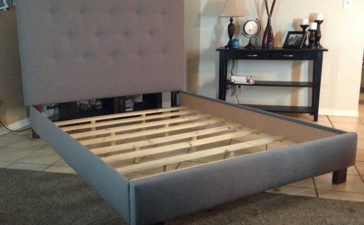 Queen Headboard Bed Frame Gray Linen Lilykayy