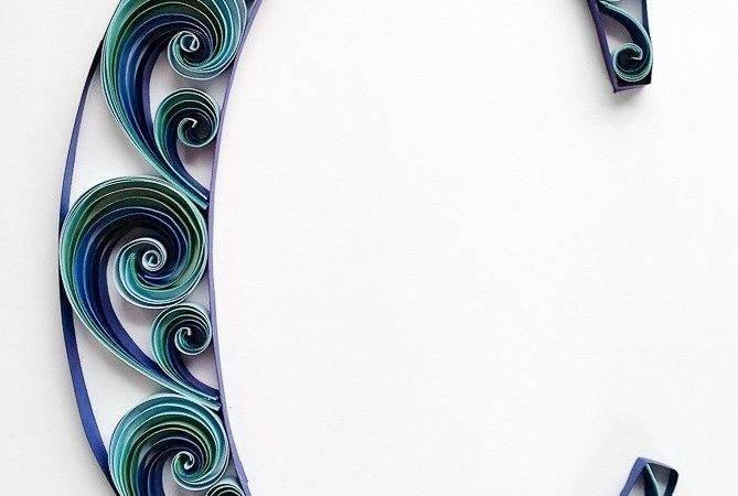 Quilled Letter Monogram Blue Waves Crafts Pinterest
