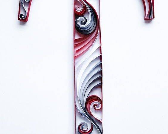 Quilled Letter Monogram Patriotic Mainely Quilling Paper Art