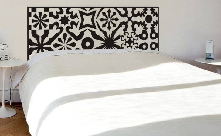 Quilted Headboard Wall Decal Vinyl Art Sticker Bed