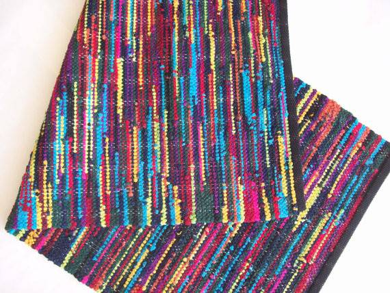 Rag Rug Cotton Rainbow Loom Woven Recycled Materials