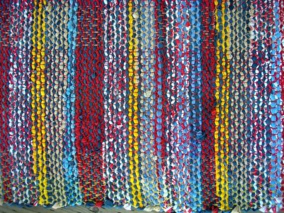 Rag Rug Handwoven Recycled Cotton Knits Lively Reds Whites Blues