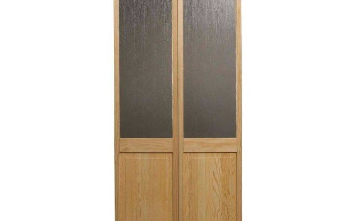 Rain Glass Over Raised Panel Pine Interior Fold Door