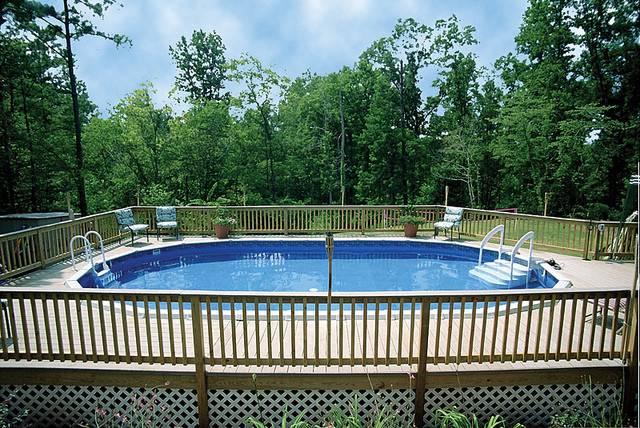 Raised Deck Lattice Trim Wood Fence Swimming Pool